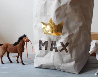 Personalized bag, Paper Storage bag, Extra Large, Grey washable paper, Gold foil, Toy storage, Kids, Nursery Storage