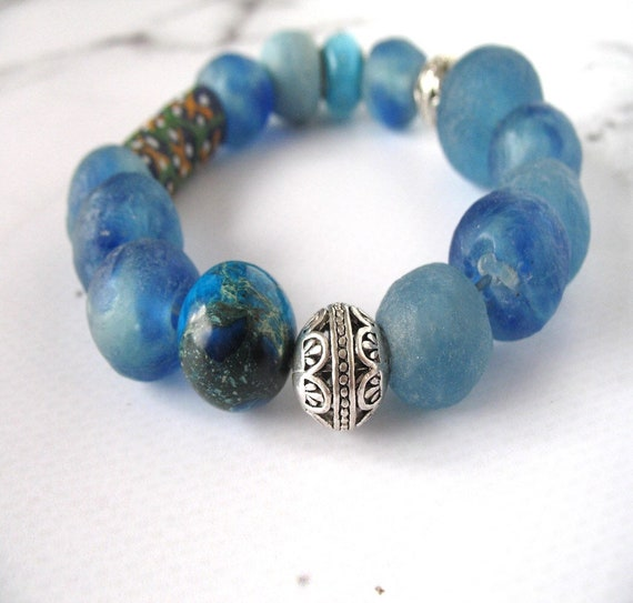 Blue Beaded Bracelet in Emperor Stone, African Fair Trade Recycled Glass and Metal Accent Beads