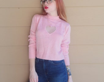 Vintage Pastel Pink Knit Pullover Mock Neck Sweater Blouse with Mesh Heart Cut Out // Women's size Small S