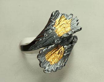 Keum Boo Ring, Sterling Silver 24KT Gold Band, Curled Leaf, Custom Made Sterling Silver Ring