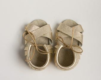 Golden Baby Sandals, Baby Sandals, leather sandales, baby leather sandales