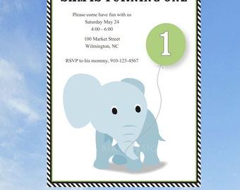 Elephant with Birthday Balloon