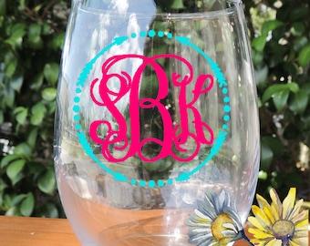 Personalized Wine Glass, Monogrammed Wine Glass, Stemless wine glass, monogrammed stemless glass, monogram glass, monogrammed wine glass
