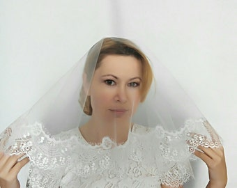Lace Fingertip Wedding Veil with Blusher Fingertip Lace Veil Fingertip Length Veil Ivory Fingertip Veil Lace Veil Fingertip Lace Bridal Veil