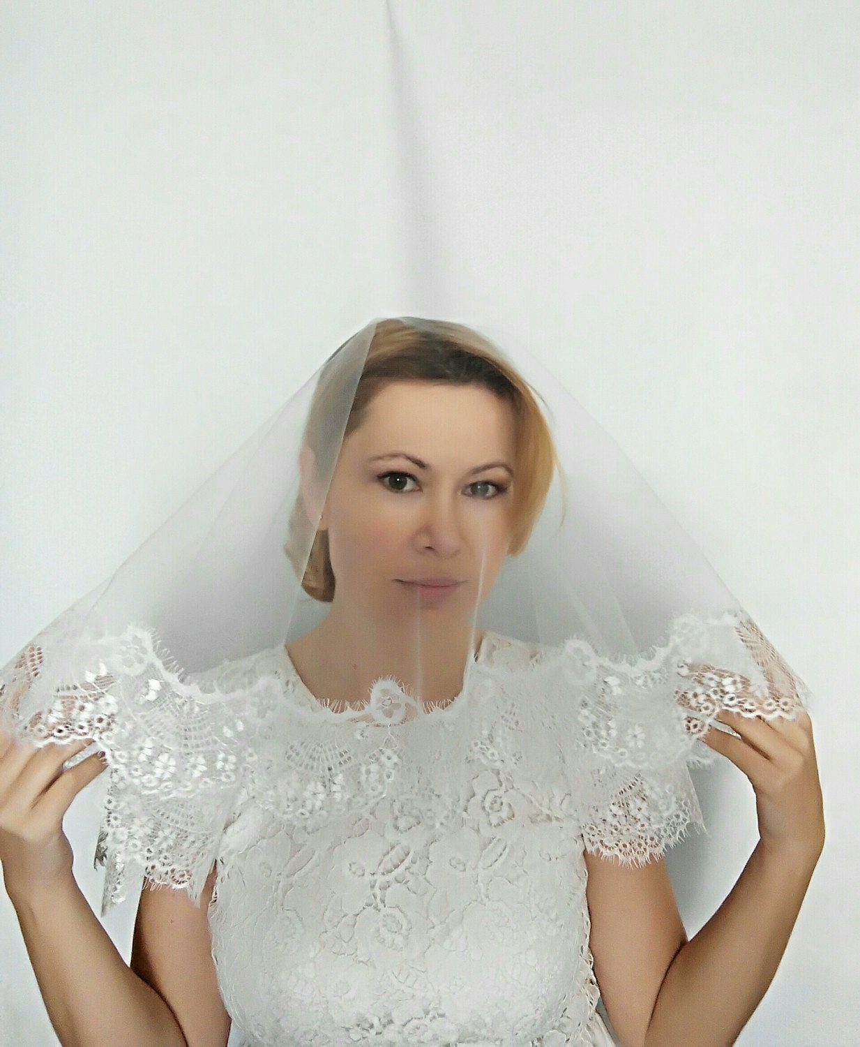 Lace Fingertip Wedding Veil with Blusher Fingertip Lace Veil