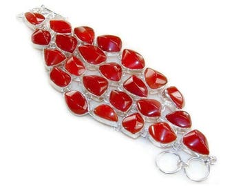 Red Carnelian and Sterling Silver Bracelet