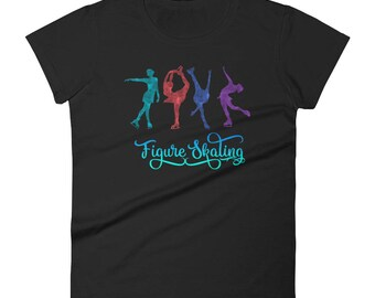 Colorful Figure Skating T Shirt for Ice Skaters and Fans Women's short sleeve t-shirt