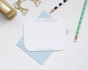 Personalized Stationery, UNC Stationery, Collegiate Stationery, College Stationery, Custom Stationery, Flat Notecards