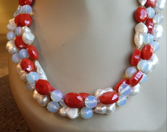 Three strand necklace made with faceted opalite, freshwater pearl and faceted artist glass beads