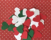 Christmas Confetti Red Green White Hearts