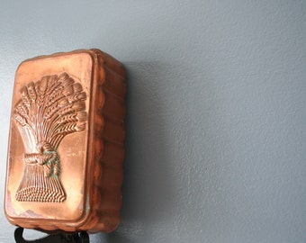 Rustic Copper Bread Pan Loaf Pan ~ Wheat and Grain Detail. Farmhouse Decor