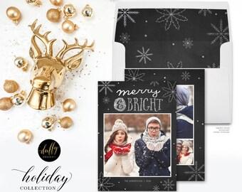 Christmas Photo Card, Holiday Photo Card, Photo Christmas Card, Holiday Card, Merry & Bright Snowflake Card 5x7 Holiday Card - SILVER White