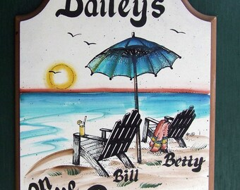 Beach Chairs WELCOME Address SIGN Personalized WEATHERPROOF Great Gift