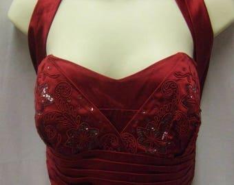 1950's Cherry Red Halterneck Dress