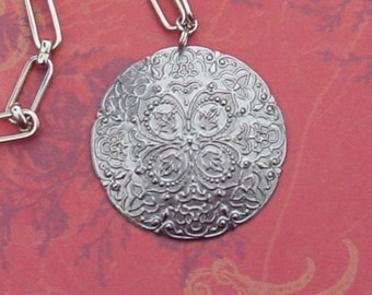 Silver toned Bohemian Medallion Necklace