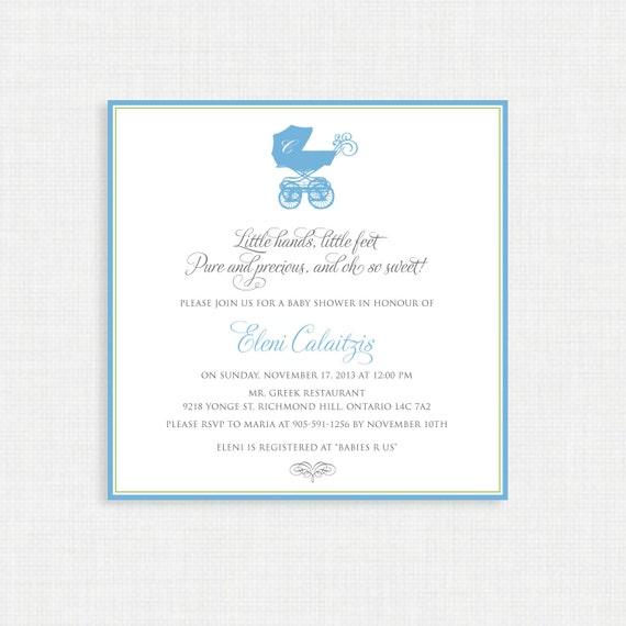 Baby Shower Invitation- Baby Pram Shower Invitation- Baby Boy Shower Invitations/PRINTABLE