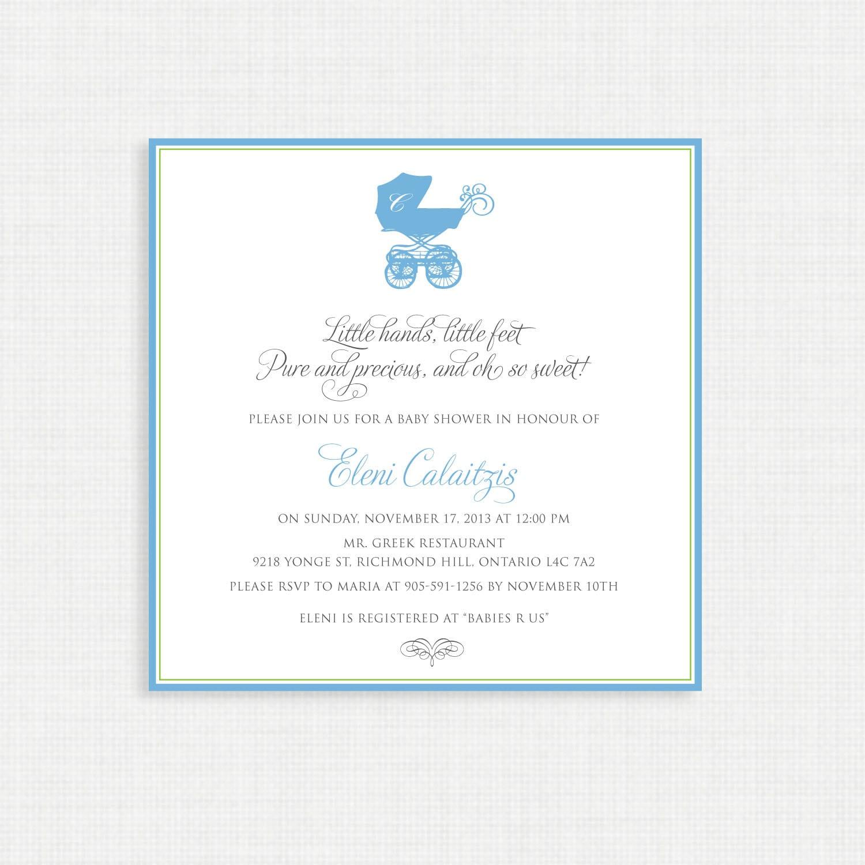 Baby Shower Invitation- Baby Pram Shower Invitation- Baby Boy Shower ...