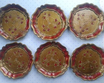 6 vintage wooden coasters, gold, red, Made in Italy