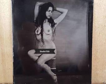 Nude model figure study tintype Kelsey-02