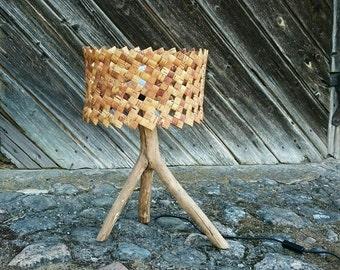 Woodland birch bark lamp, braided lampshade, weddings gift, Handmade Night light, Rustic home Decor, norwegian style lamp, eco home decor