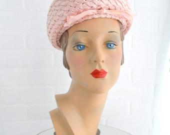 1960s Pink Straw Hat
