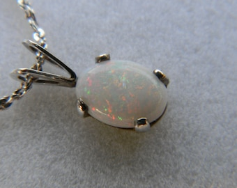 Genuine Opal Cab in Sterling Silver