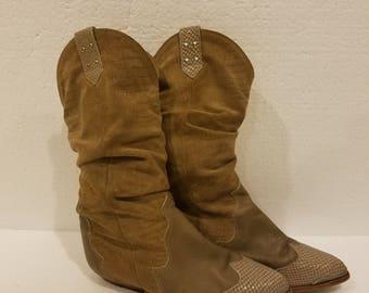 Vintage genuine leather Zodiac cowboy/cowgirl boots size 8 M