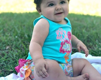 Flamingo 3 piece outfit Tank Top, Ruffle Diaper Cover Bloomers, and stacked Bow