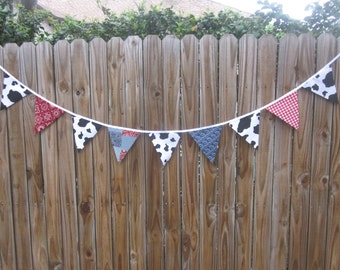 Fabric Banner Bunting - Pennant Flags, Birthday, Photo Prop, Western Party, Nursery Decor, Cowboy Party, Cowgirl