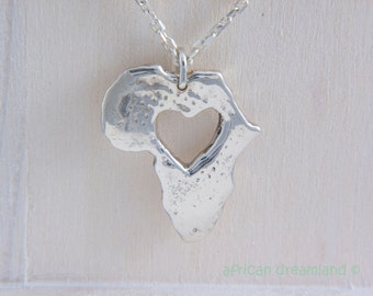 Africa Necklace with Heart Map Pendant Personalized Sterling Silver 925 in a kraft gift box with an Extra Free Gift.