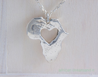 Africa Necklace -  Heart for africa - Adoption pendant sterling silver
