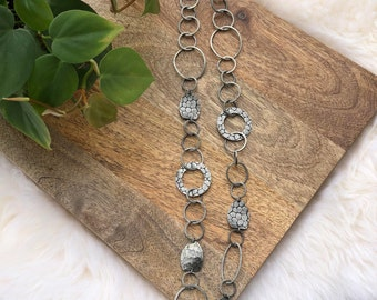 vintage antiqued silver metal links necklace | jewelry