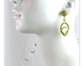 Citrine Green Rhinestone Drop Earrings Restyled from Vintage & New Pieces
