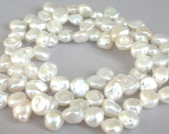 Gorgeous white Keishi pearls, freshwater pearls, side drilled 6mm to 7mm baroque, beautiful luster, bridal pearls