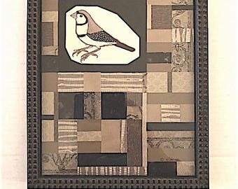 Richly Textured Paper Taupe and Black Bird Collage Art (with Frame)