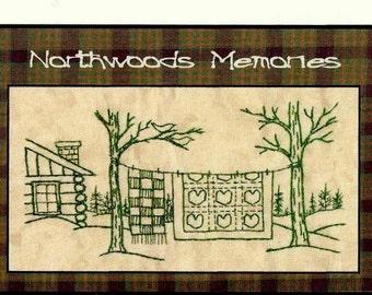 Northwoods Memories Valentine Quilt - Redwork Hand Embroidery Pattern by Beth Ritter - Instant Digital Download