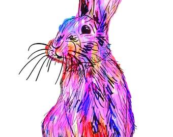 "Rabbit(5) Giclée Print - Cavanata - 8"" X 10"" Rabbit Graphic Fine Art Print, Original Illustration, Animal Art"