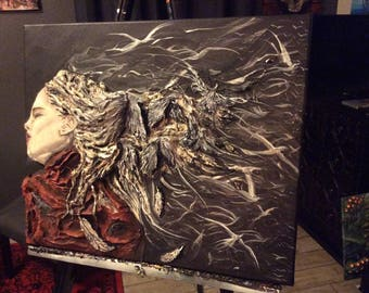 Dreaming of the Wind - Original 3D Sculpted Painting - Sleeping Girl w/ Hair Melting into Crows, Ravens, and Doves