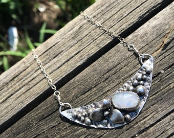 Sterling Silver .925 Moonstone and succulent 'Moon keeper' necklace
