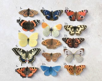 British Butterfly Collection -Full set of 15. Hand cut silk butterfly hair clips with Swarovski Crystals.