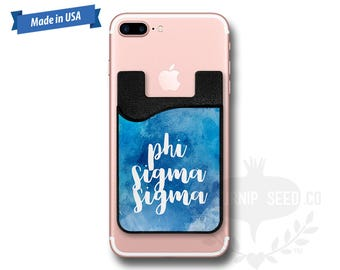 Phi Sigma Sigma Watercolor - Water Color - Phone Caddy - Sticker Pocket Wallet - Personalized Cell Phone Pocket PC 1091