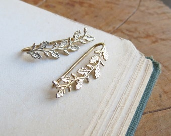Gold Ear Climber Leaf and Acorn Ear Crawler Earrings Yellow Gold Plated Earring  Ear Cuff  Ear Sweep Earrings gift for her gift for wife