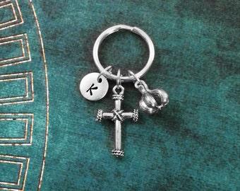 Cross Keychain VERY SMALL Garlic Keychain Cross Charm Keychain Christian Keychain Vampire Keychain Protection Keychain Initial Keychain Gift