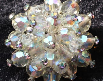 Very Impressive Clear Faceted Aurora Borealis Crystal Bead Brooch with Tiny Rhinestone Detailing