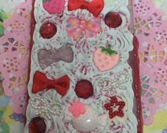 Strawberry iPhone 5 5s 5se 5c Case Deco Decoden Kawaii Whip Whipped Cream Ice Cream Red Pink