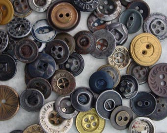 Lot of 76 Vintage Sew Down Buttons