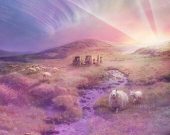 Return to the Dream Temple  - 11X14 print | spiritual pastel art, dreamy landscape art, feminine fantasy landscape art - by Lisa Falzon