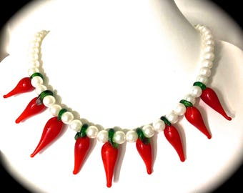 Red Chillies Glass Beads and Faux Pearls Fun Necklace