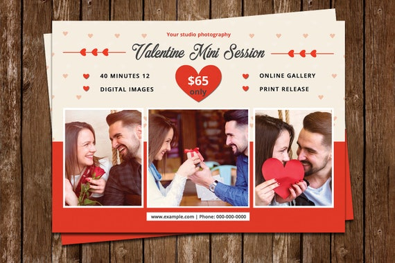 Valentinstag-Mini-Session-Flyer Fotografie Marketing-Board