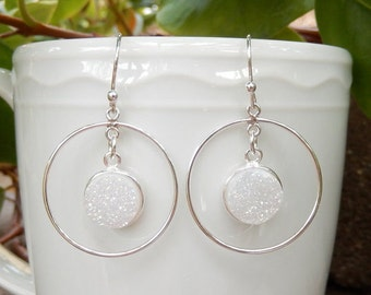 White Druzy Hoop Earrings Sterling Silver Chandelier Drusy Angel Aura Quartz Round Circle Dangle Drops - Free Shipping Jewelry
